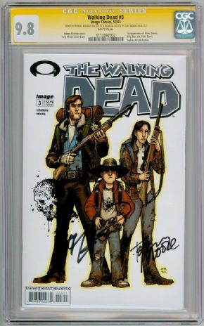 Walking Dead #3 CGC 9.8 Signature Series Signed Robert Kirkman & Tony Moore Sketch Image comic book